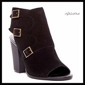 BLACK SUEDE PEEP TOE ANKLE BOOTS BOOTIES